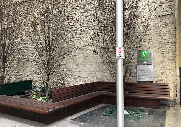 Public space at 585 Eighth Avenue in Manhattan