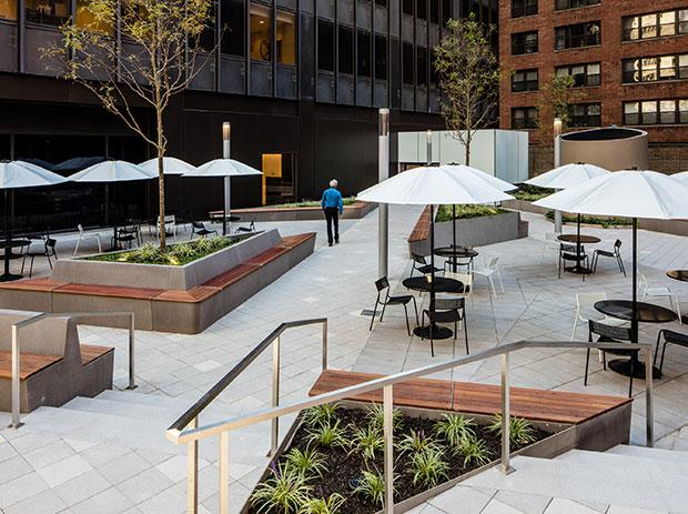 public plaza at 600 Third Avenue in Manhattan